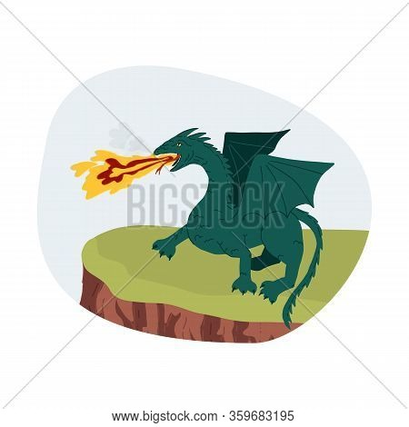 A Mythical Creature Frightening Green Dragon Stands On A Ledge Of A Cliff And Spews Flame And Smoke