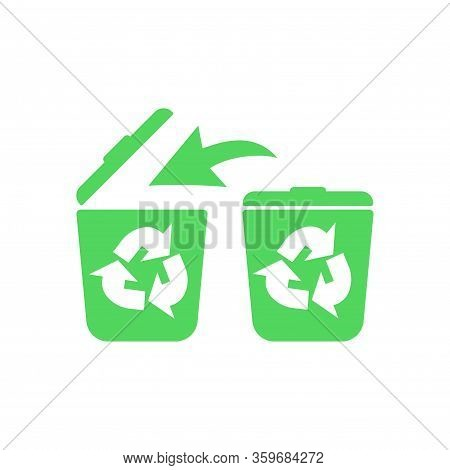 Recycle Bin, Litter Bin, Ecological Recycle Bin Or Trash Can. Icon Isolated White Background. Eps 10