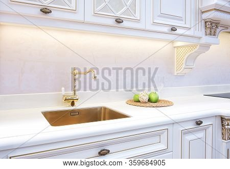 Kitchen Interior, Classic Kitchen With A Luxury Mixer, Breakfast Concept, Kitchen Background, Concep