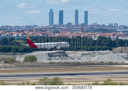 Madrid, Spain - April 14, 2019: Iberia Airlines Airbus A320 Passenger Plane Landing At Madrid-baraja
