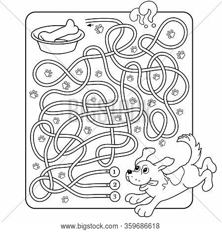 Maze or Labyrinth Game for Preschool Children. Puzzle. Tangled Road. Matching Game. Coloring Page Outline Of Cartoon Dog with bone. Coloring book for kids.