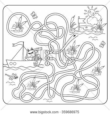Maze or Labyrinth Game for Preschool Children. Puzzle. Tangled Road. Matching Game. Coloring Page Outline Of Cartoon Frog. Coloring book for kids.