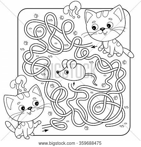 Maze or Labyrinth Game for Preschool Children. Puzzle. Tangled Road. Matching Game. Coloring Page Outline Of Cartoon Cats with mouse. Coloring book for kids.