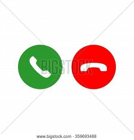 Accept And Decline Call Or Red And Green Yes No Buttons With Handset Silhouettes Icon. Call Answer O