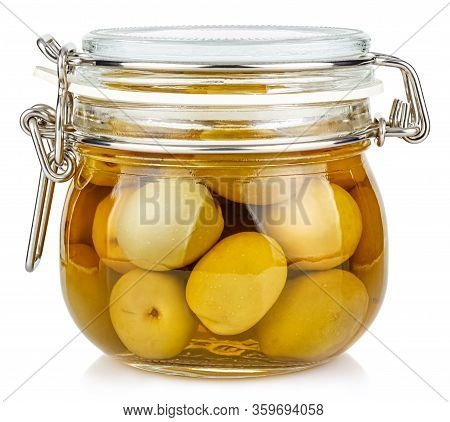 Whole Green Olives In Brine In A Closed Transparent Glass Jar With Rubber Seal And Metal Clamp On Li