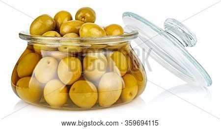 Whole Green Olives In Brine In A Open Transparent Glass Oval Storage Jar With Glass Lid Isolated On