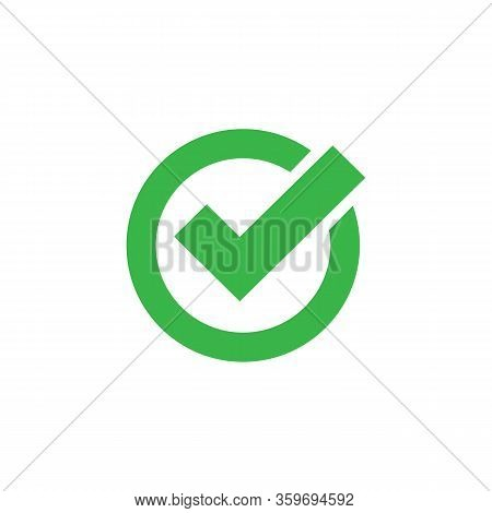 Checkmark Icon Green In Flat. Vector Eps 10
