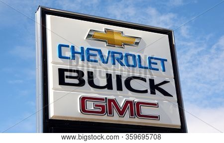 Montreal, Canada - April 4, 2020: Chevrolet Buick And Gmc Sign At Dealership. They Are Most Popular