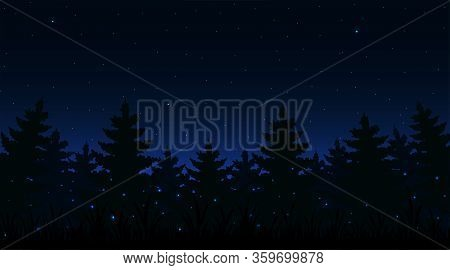 Night Forest Background With Fireflies Of Dimly Lit. Vector Illustration.