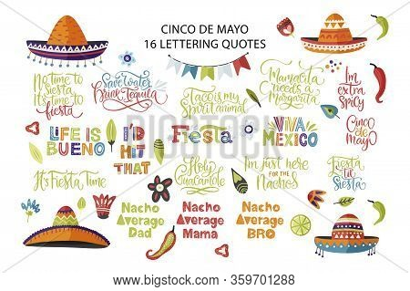 Cinco De Mayo Holiday Vector Lettering Set. Calligraphy Mexican Fiesta Party Hand Drawn Collection.