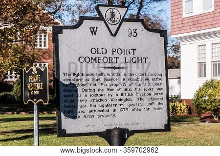 Hampton, Virginia/usa - November 15, 2015:  Historical Marker For The Old Point Comfort Lighthouse,