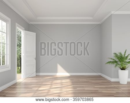 Classical Style Empty Entrance Hall 3d Render,the Rooms Have Wooden Floors And Gray Walls ,decorate