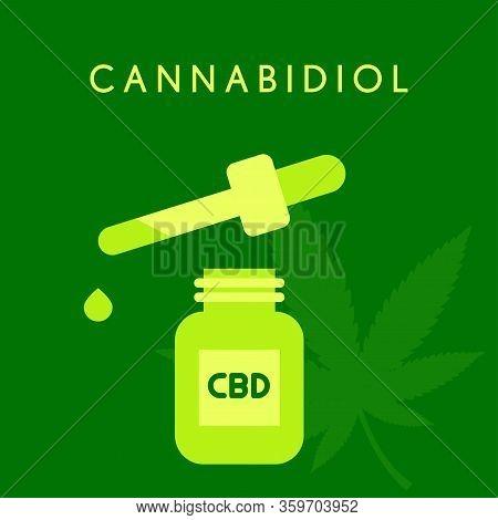 Cbd Oil Chemical Formula. Growing Premium Marijuana Products. Cannabidol Molecule Structure On Green