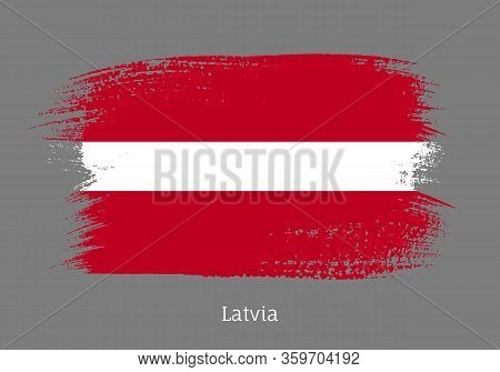 Latvia Republic Official Flag In Shape Of Paintbrush Stroke. Latvian National Identity Symbol. Grung
