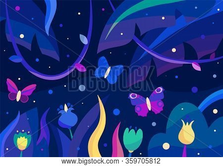 One Blue And Two Magenta Butterflies In The Colorful Night Jungle Full Of Plants And Magic Lights. F