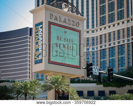 4 April 2020, Las Vegas, Nevada, Usa, Palazzo Casino Sign With Be Safe Be Well Message Due To Covid-