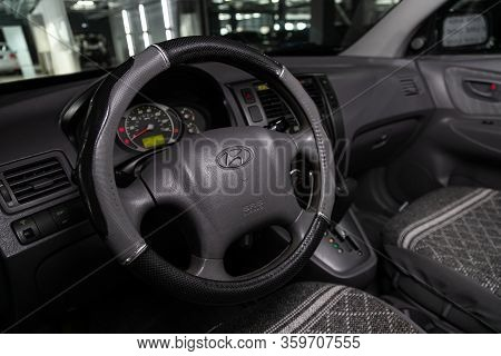 Novosibirsk, Russia - February 10, 2020:   Tucson Hyundai,  Auto Interior: Steering Wheel With Red L