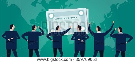 Ipo Initial Public Offering. Business Man Looking At Stocks. Investment Concept Illustration