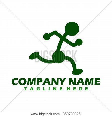 Run Logo Design Vector Stock Symbol . Running Logo Sport Concept . Running Marathon Logo Design Temp