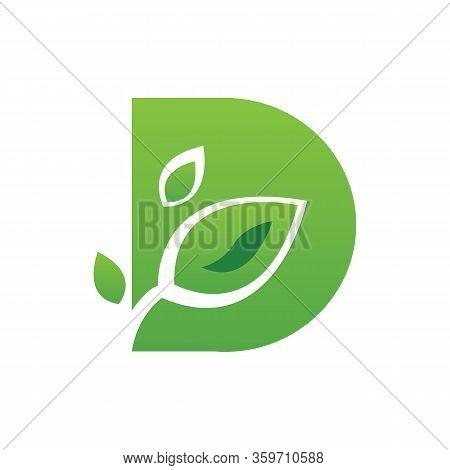 Natural Letter D Modern Alphabet Green Logo Vector With Leaf. Organic Leaf Letter D Green Logo. Agri