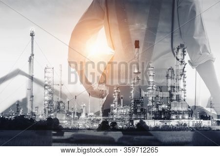 Petroleum Industry Oil And Gas Refinery Plant, Double Exposure Of Factory Service Engineer With Proc