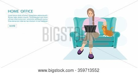 Happy Woman Working From Home At Sofa With Laptop.self Employed Conceptual Vector Illustration.