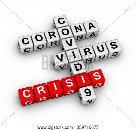 Coronavirus COVID-19 econonic crisis. 3D crossword puzzle on white background.