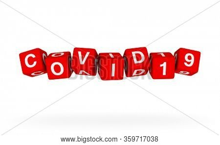 Flying dice with COVID19 word. 3D headline illustration on white background.