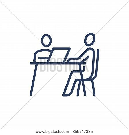Candidate And Employer Having Job Interview Icon. Customer Consulting Expert, Businesspeople Sitting