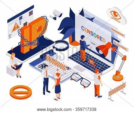 Internet Technical Censorship Methods Isometric Composition With Ip Blocking Key Words Filtering Acc