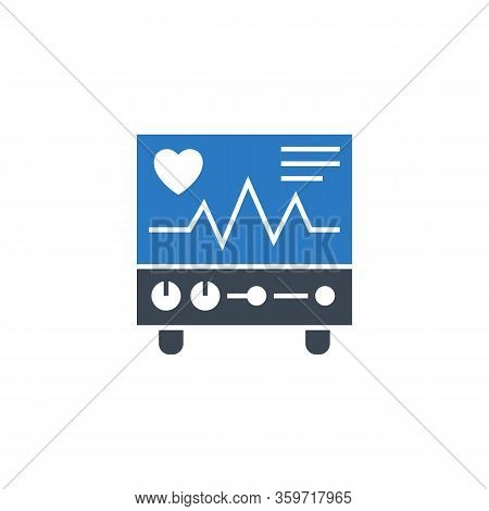 Electrocardiogram Related Vector Glyph Icon. Isolated On White Background. Vector Illustration.