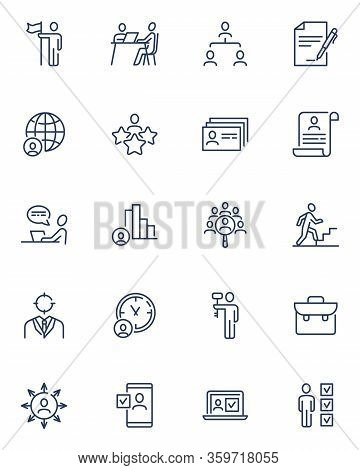 Head Hunting And Human Resource Line Icons Set. Candidate And Employer Job Interview, Career Growth,