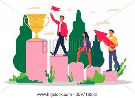 Successful Team Winning Award. Winners Walking Upstairs On Podium To Prize Cup Flat Vector Illustrat