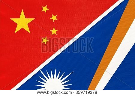 China Or Prc Vs Marshall Islands National Flag From Textile. Relationship Between Asian And Oceania