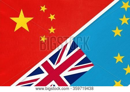 China Or Prc Vs Tuvalu National Flag From Textile. Relationship Between Asian And Oceania Countries.