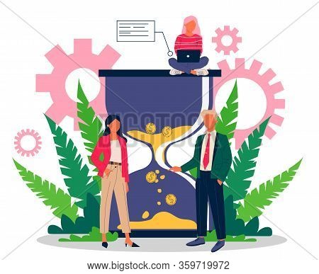 Successful Business People Managing Work Time Effectively Vector Illustration. Productive Office Sta
