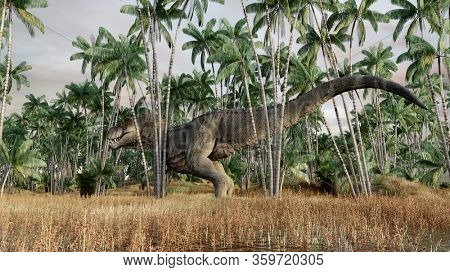 3d rendering of the sneaking hunting tyrannosaurus
