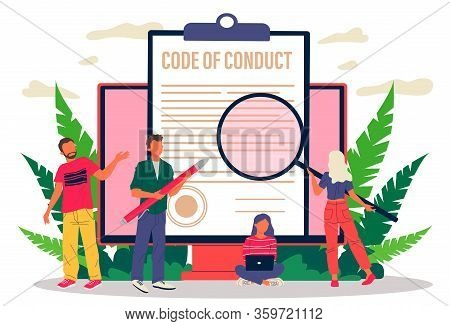 Business People Studying Code Of Conduct Paper Vector Illustration. Office People Working On Company