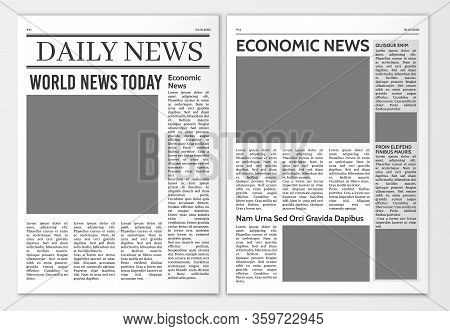 Newspaper Pages Template. News Paper Headline Vector Mockup. Tabloid Journal Simple Background. News