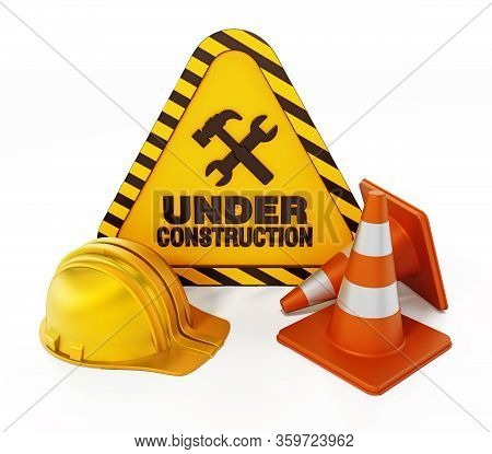 Under Construction Signboard, Helmet And Traffic Cone. 3d Illustration.