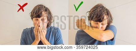 Comparison Between Wrong And Right Way To Sneeze To Prevent Virus Infection. Caucasian Woman Sneezin
