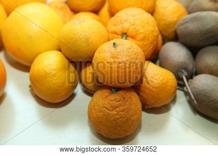 Ripe Mandarin Citrus Isolated Tangerine Mandarine Orange On White Background. Orange Mandarins Or Ta