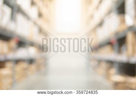 Abstract Blurred Shopping Mall Interior Background. Blur Corridor Or Aisle Of Supermarket, Grocery S