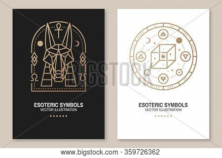 Esoteric Symbols Poster, Flyer. Vector Illustration. Thin Line Geometric Badge. Outline Icon For Alc
