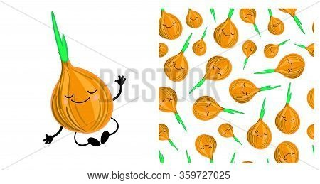 Onion Vegetable Character Cute. Seamless Vegetable Pattern With Onions. Childrens Vector Illustratio