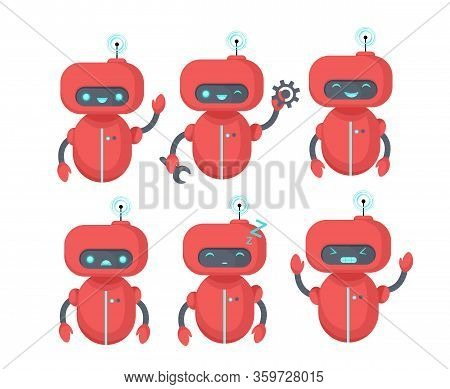 Chat Bot Icon Set. Robot With Different Emotions. Virtual Assistant For Website, Mobile App And Cust
