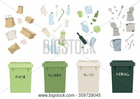 Waste Management Concept. Separation Of Waste On Garbage Cans. Sorting Waste For Recycling Plastic,