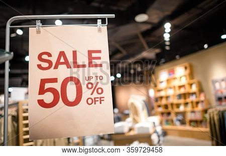Discount Percentage Sign Display In  Fashion Department Store During Sale Season Period. Sale Tag Of