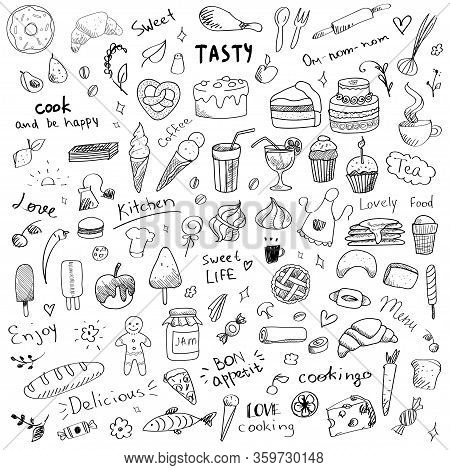 Vector Set Of Doodle Sketch Illustrations Of Sweet Food. Sweet Dessert And Food Art Elements For Kit