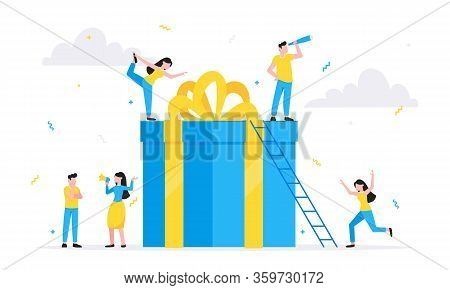Online Reward Flat Style Design Vector Illustration Business Concept. Big Gift Box And Tiny People S